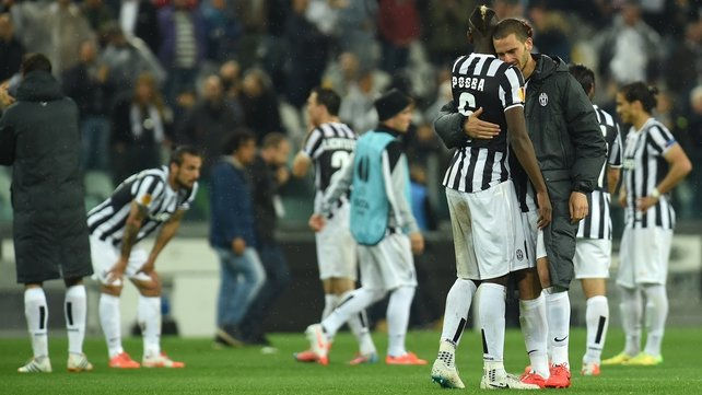 Dejected Juventus players at the end of a scoreless draw in Turin