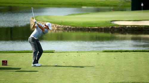Rory McIlroy plays off the 17th tee box at Quail Hollow
