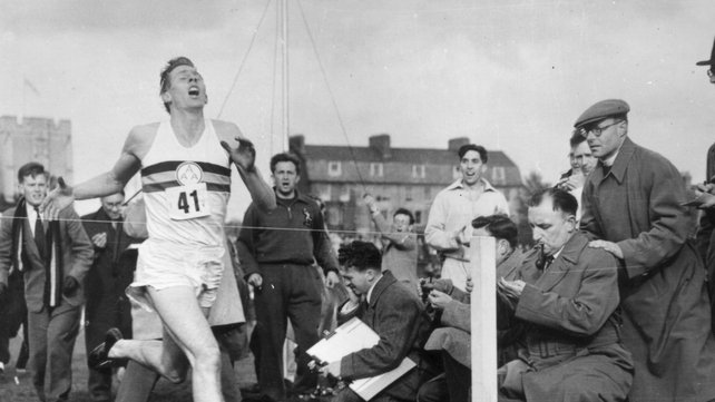 Roger Bannister running the first sub four-minute mile on 6 May, 1954