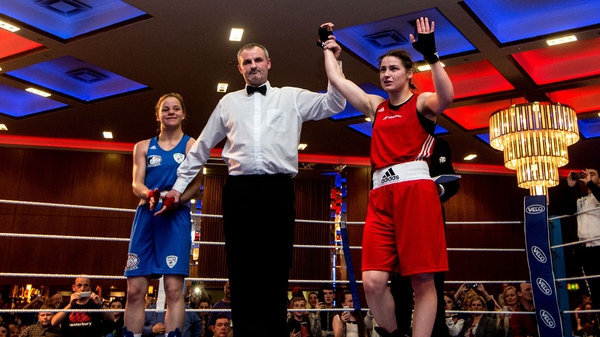 Katie Taylor is announced the winner at the end of her bout with Marija Petric