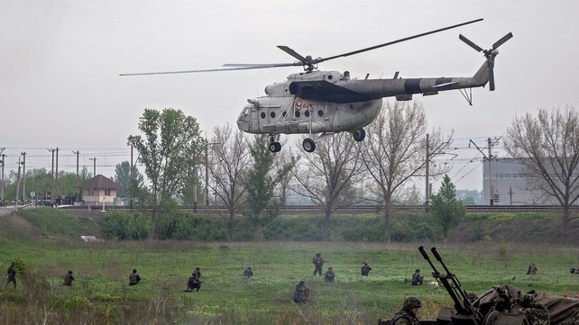 Several helicopters were involved in the operation at Slaviansk