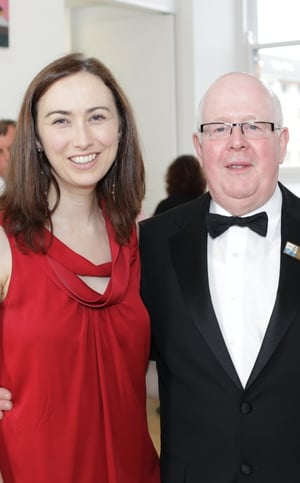 Karina Buckley with All Ireland Drama Festival committee member Tom Martin