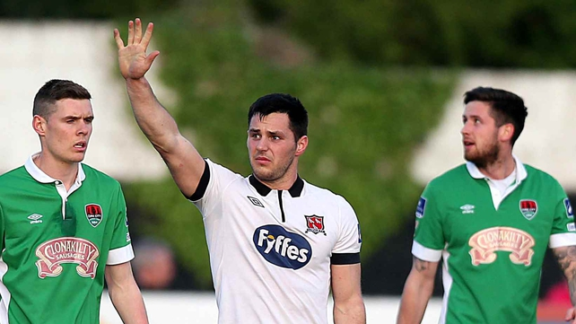 Patrick Hoban greets the Dundalk supporters after his second goal