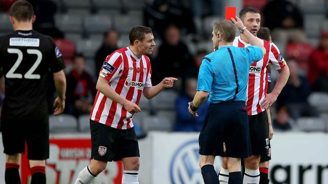Rory Patterson was sent off for a dangerous tackle on Dave Mulcahy