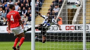 Shola Ameobi's header finds the back of the net