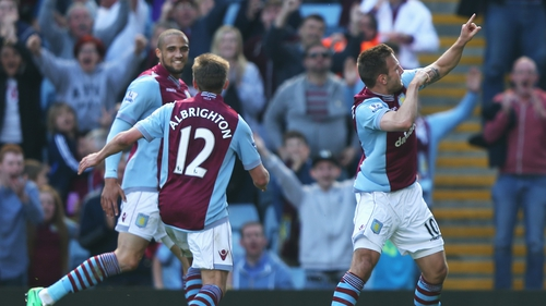 Andreas Weimann (R) celebrates his second goal