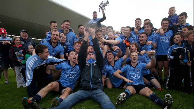 Dublin celebrate with supporters after their win