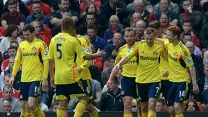 Sunderland's Sebastian Larsson (2nd right) celebrates with teammates after scoring