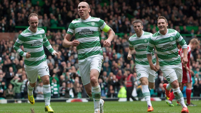 Scott Brown scored twice against Aberdeen