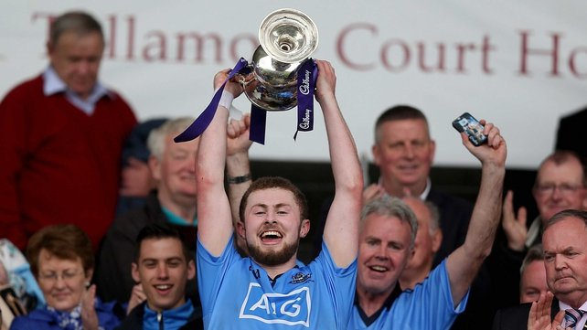 Dublin captain Jack McCaffrey lifts the cup