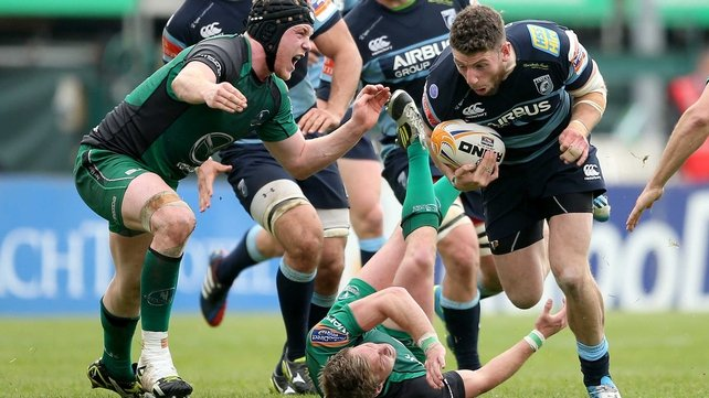 Connacht's Conor Gilsenan and Kieran Marmion with Alex Cuthbert of Cardiff