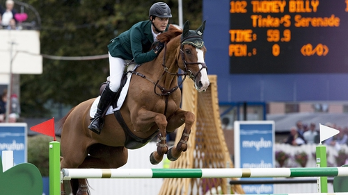 Billy Twomey and Tinka's Serenade in flying form at Lummen