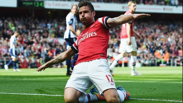 Oliver Giroud celebrates putting Arsenal in front at the Emirates