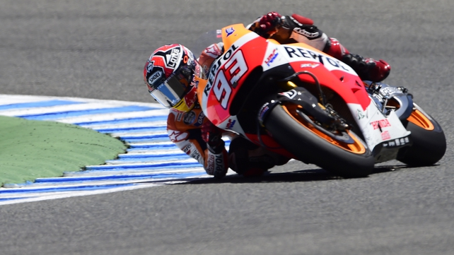 Repsol Honda Team's Marc Marquez competes at the Jerez racetrack