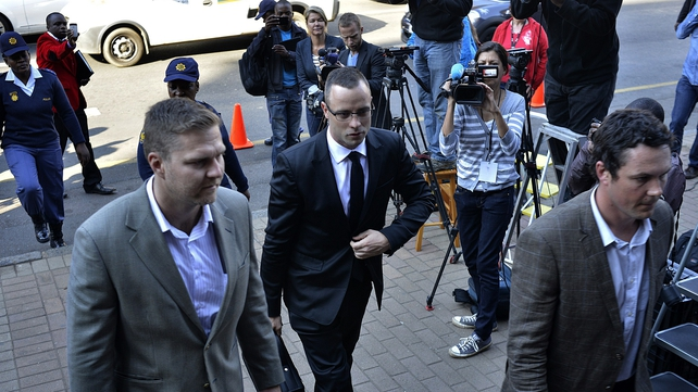 Oscar Pistorius arrives in court in Pretoria this morning
