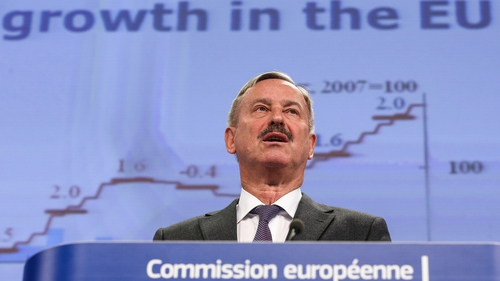 European Transport Commissioner Siim Kallas speaks during a news conference on the Spring Economic Forecast in Brussels
