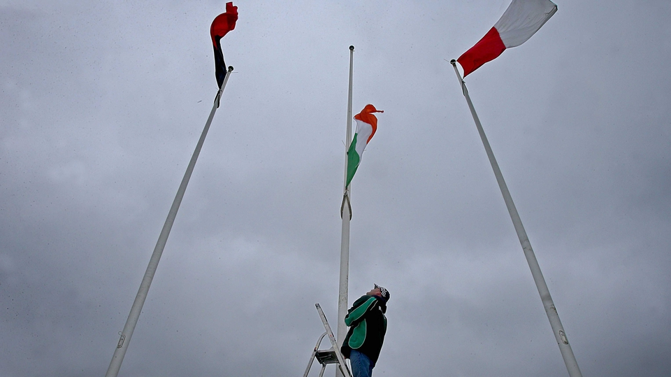 The flags are raised ahead of the Cork-Down camogie clash
