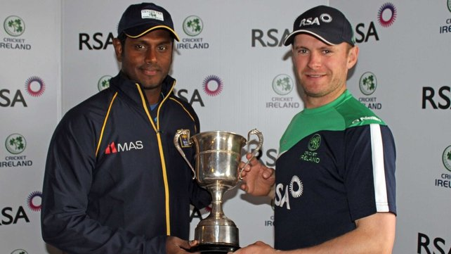 William Porterfield with Sri Lanka captain Angelo Matthews ahead of this week's ODI series