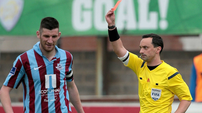 Drogheda United's Gavin Brennan was dismissed after two yellow cards