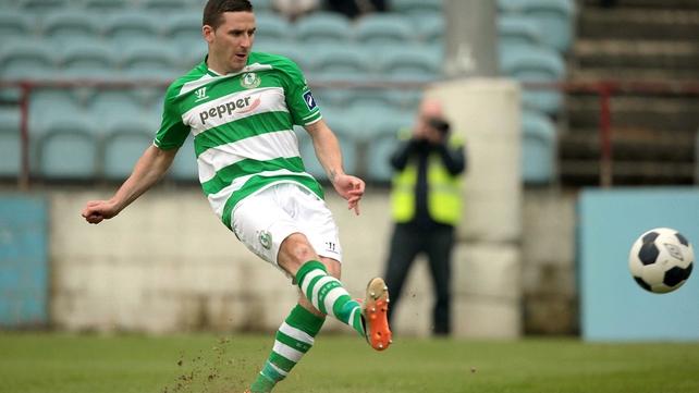 Shamrock Rovers' Dean Kelly scores from the penalty spot