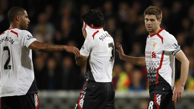 Glen Johnson, Luis Suarez and Steven Gerrard at full-time of their 3-3 draw with Crystal Palace