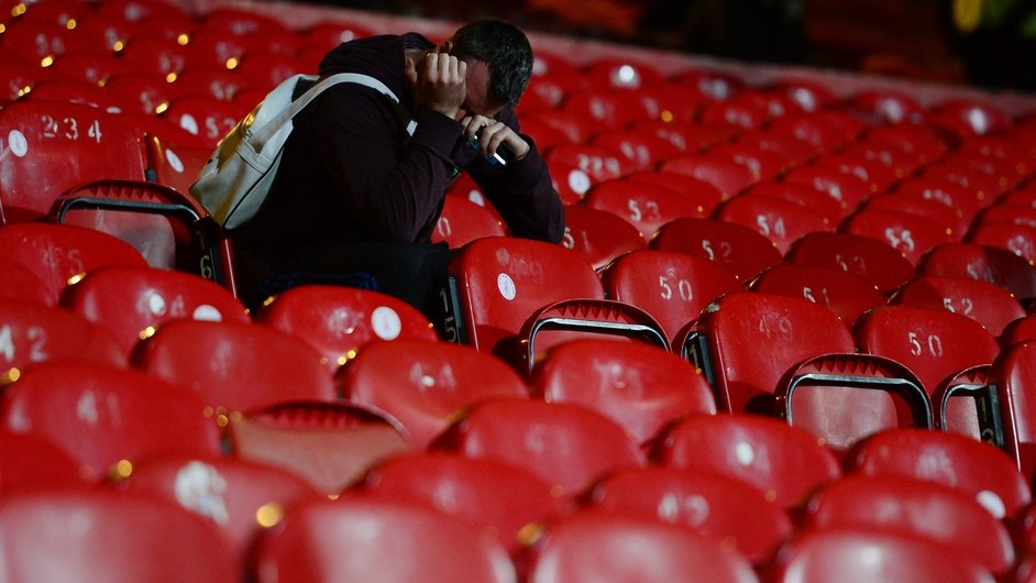 A Liverpool fan remains in the stand at Selhurst Park following the 3-3 draw with Crystal Palace