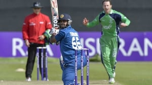 Ireland's Alex Cusack celebrates as Lahiru Thirimanne is caught