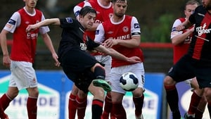 Jake Hyland fires home his second goal for Bohs