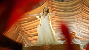 Valentina Monetta of San Marino performs on stage during the first semi-final of the Eurovision Song Contest