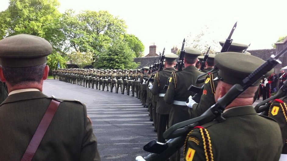 The 28th infantry battallion takes position at Arbour Hill for the annual State commemoration of the 1916 Rising