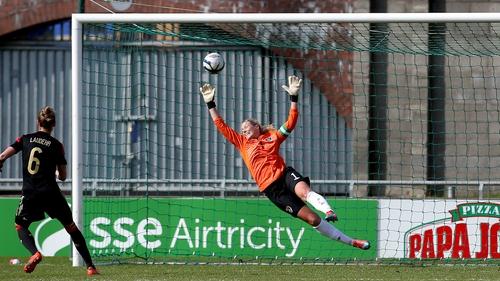 Ireland goalkeeper Emma Byrne in action against Spain