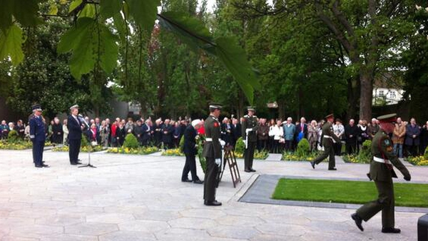 President Michael D Higgins lays a wreath at the grave of executed 1916 Rising leaders