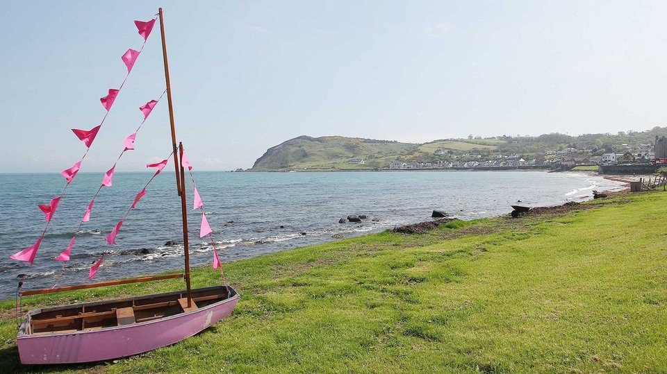 A boat is painted pink along the route of the Giro d'Italia in Co Antrim