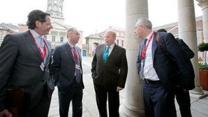 John Moran (left) pictured with Department of Finance officials and Finance Minister Michael Noonan