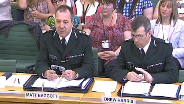 Matt Baggott and Drew Harris give evidence inside the House of Commons in central London