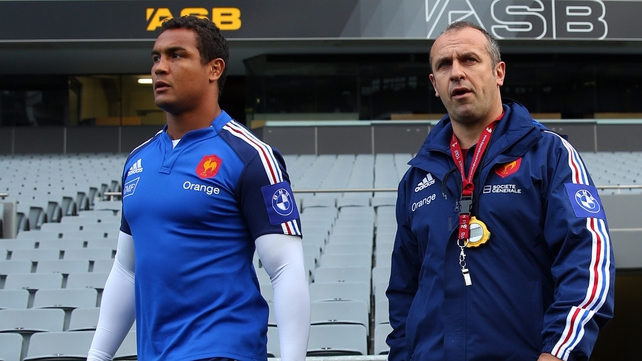 French coach Philippe Saint-Andre (R) and captain Thierry Dusautoir (L) during France's tour to New Zealand last summer