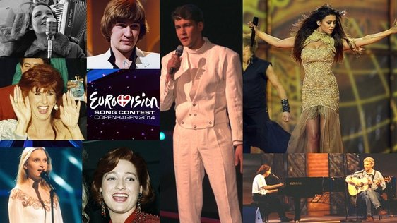 Eurovision Past Winners and the 2014 Contestant 'Kasey Smith'.