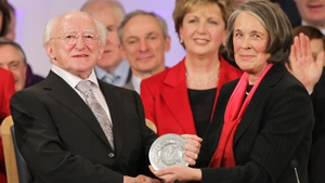 President Michael D Higgins receives his seal of office from Chief Justice Susan Denham during his inauguration ceremony at Dublin Castle in November 2011