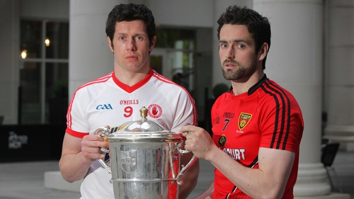 96b263c7ec7 Tyrone s Seán Cavanagh and Kevin McKernan of Down at the launch of this  year s Ulster Championship