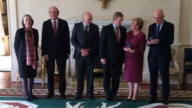 Ms Fitzgerald and Charlie Flanagan received their ministerial seals of office at Áras an Uachtaráin