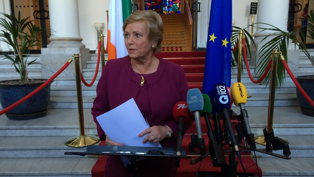 Frances Fitzgerald speaks to the media at Leinster House this afternoon