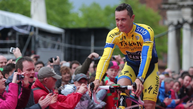 Tinkoff-Saxo Nicolas Roche during the team presentation in Belfast