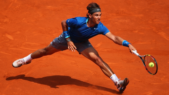 Rafael Nadal seeing off Jarkko Nieminen in Madrid