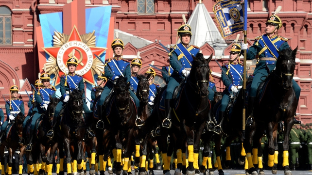 Russian honour guard troopers took part in the parade in Moscow's Red Square