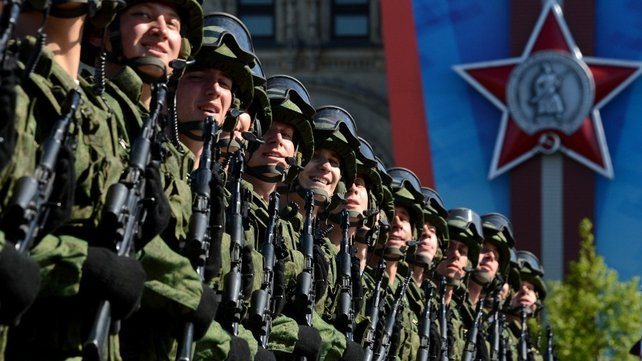 Russian soldiers march during  Victory Day parade in Red Square