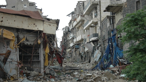 Debris lies on the streets of the Old City of Homs following the evacuation of rebels and residents