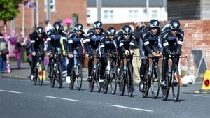 Team Sky warm up ahead of the start of the Giro in Belfast on Friday