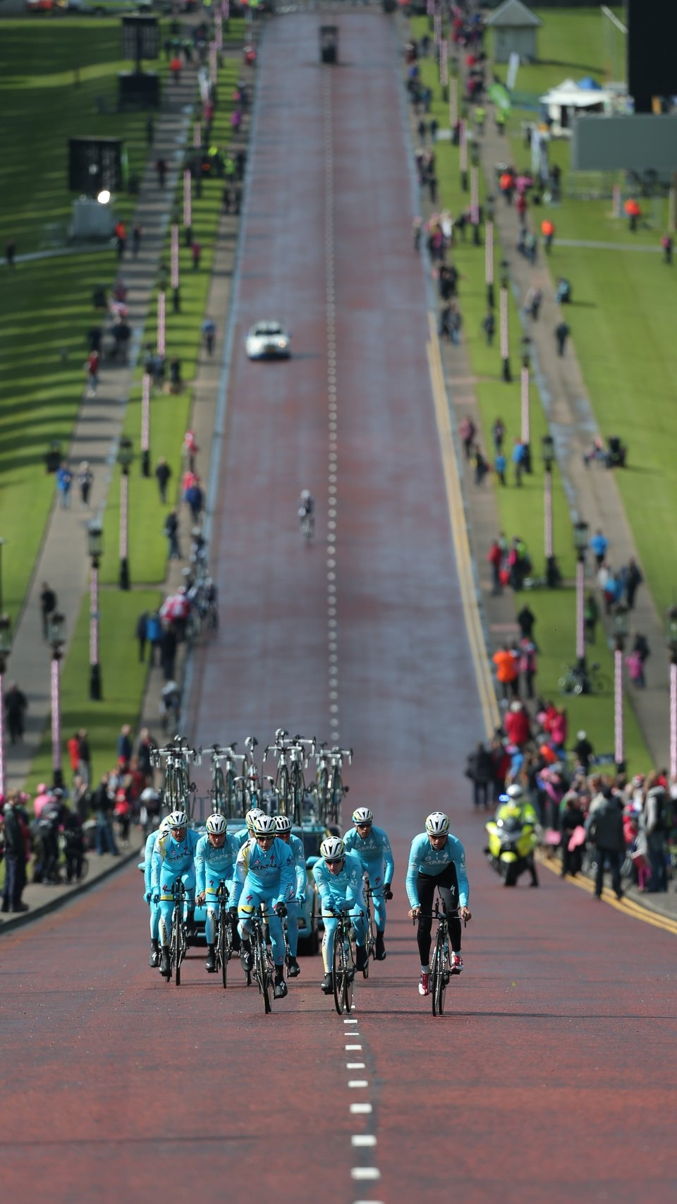 The riders head up the long hill in the Stormont estate on Friday's warm-up