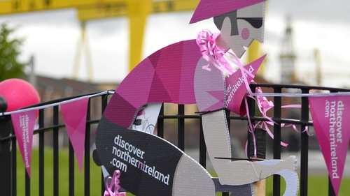 Giro decorations on the Newtownards Road in Northern Ireland