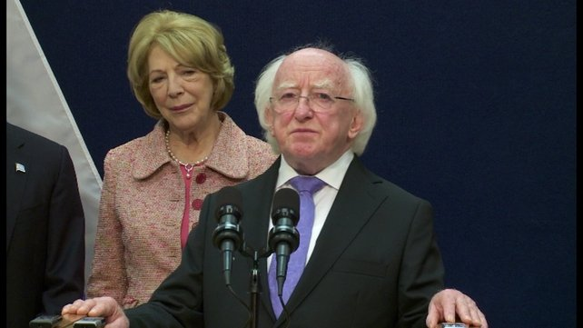 President Higgins and his wife Sabina attended a commemoration event in Liege